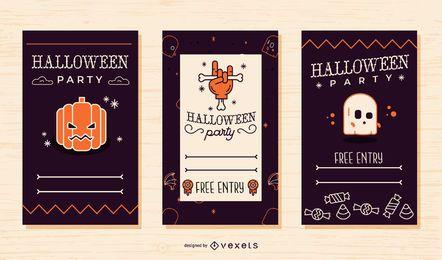 Legal conjunto de convite de festa de halloween