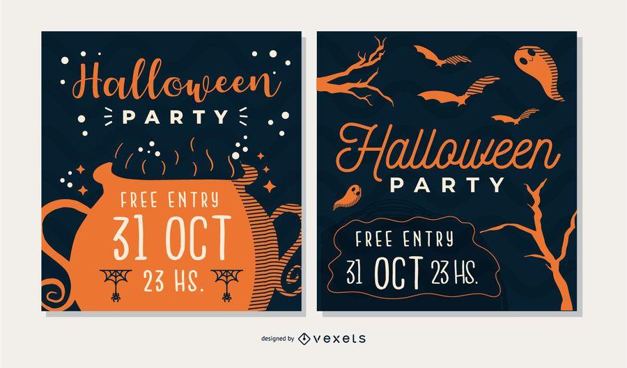 Set de tarjetas de fiesta de Halloween