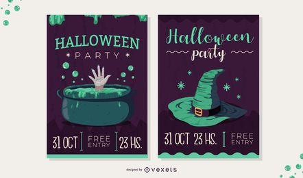 conjunto de invitación de halloween espeluznante