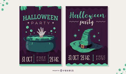espeluznante conjunto de invitación de halloween