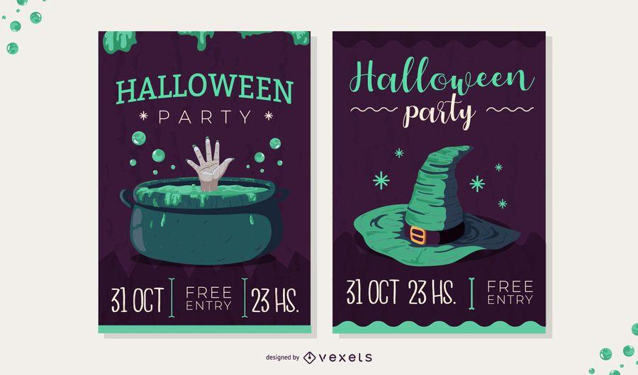 conjunto de convite assustador de halloween