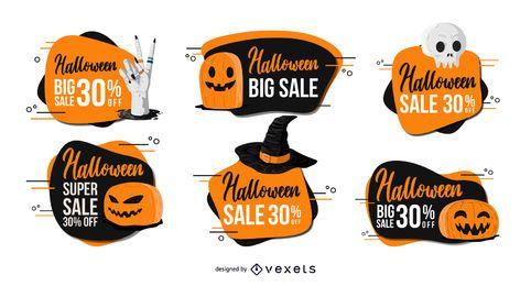 Conjunto de insignias de descuento de Halloween