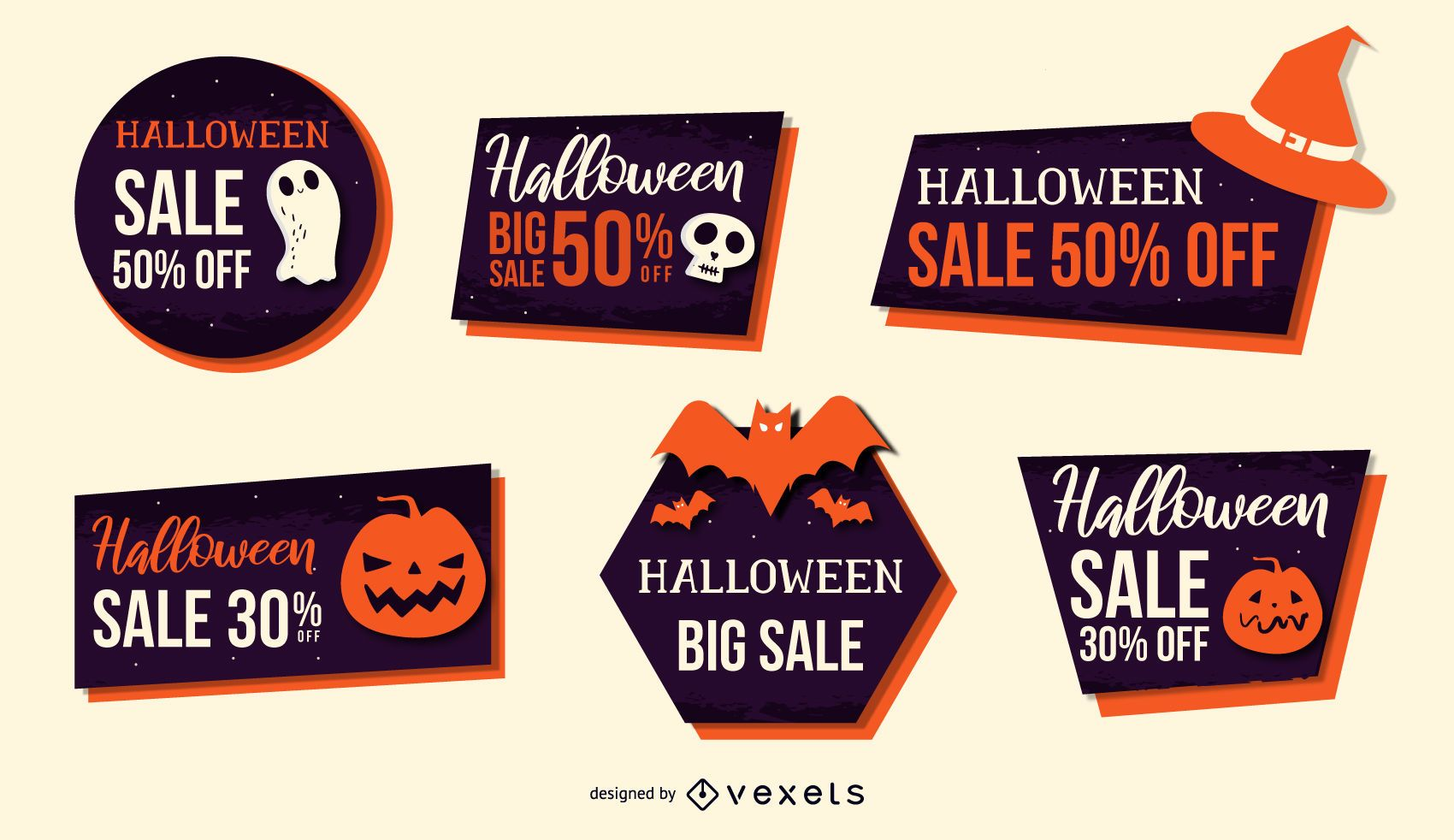 halloween discount vector set