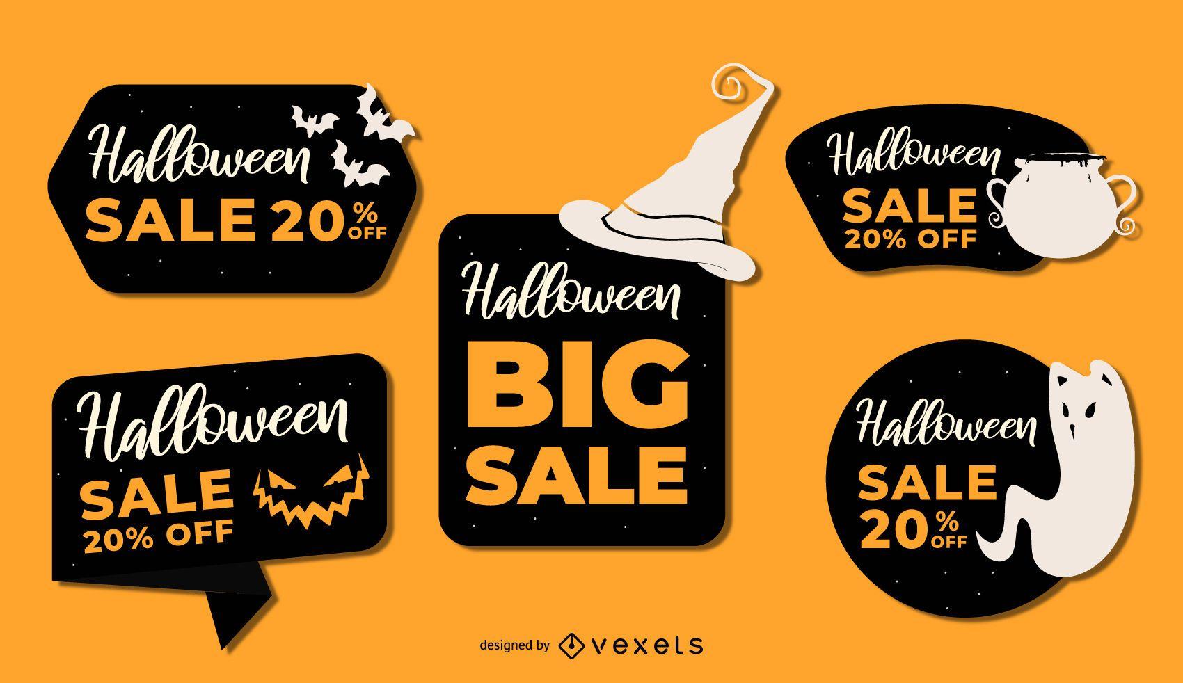 Halloween sale vector set