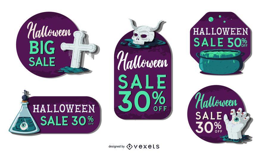 Spooky halloween sale vector set