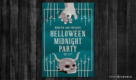 Pôster da festa da meia-noite de Halloween