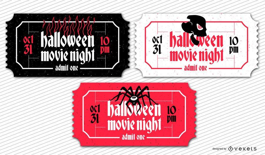 Conjunto de bilhetes de cinema de Halloween