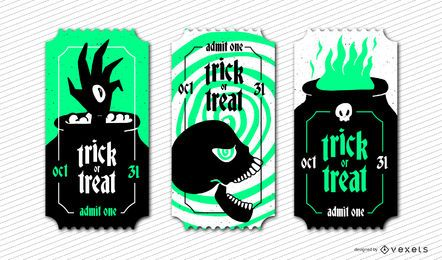 Conjunto de bilhetes de halloween assustador