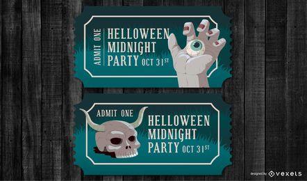 Conjunto de bilhetes de festa de Halloween