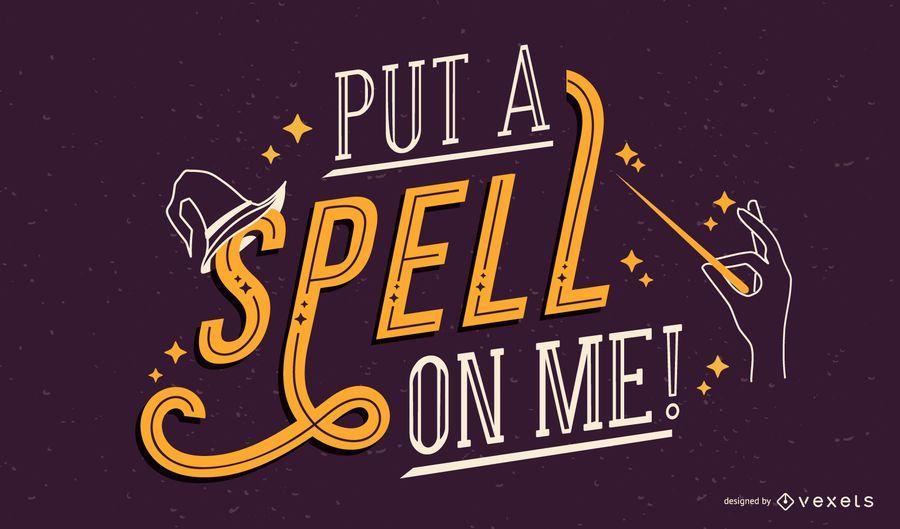 Halloween spell lettering design