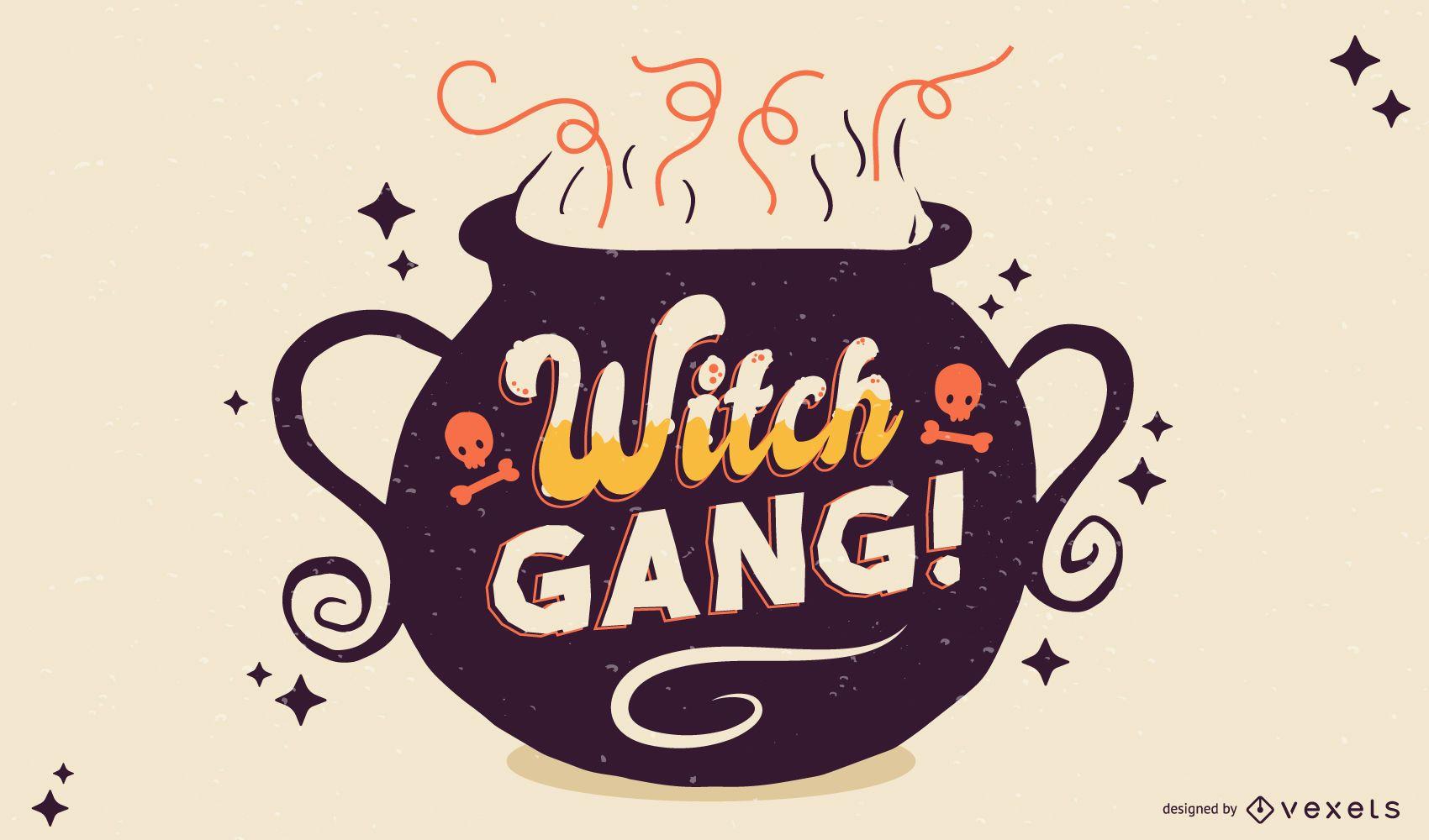 Faixa de halloween da gangue de bruxas