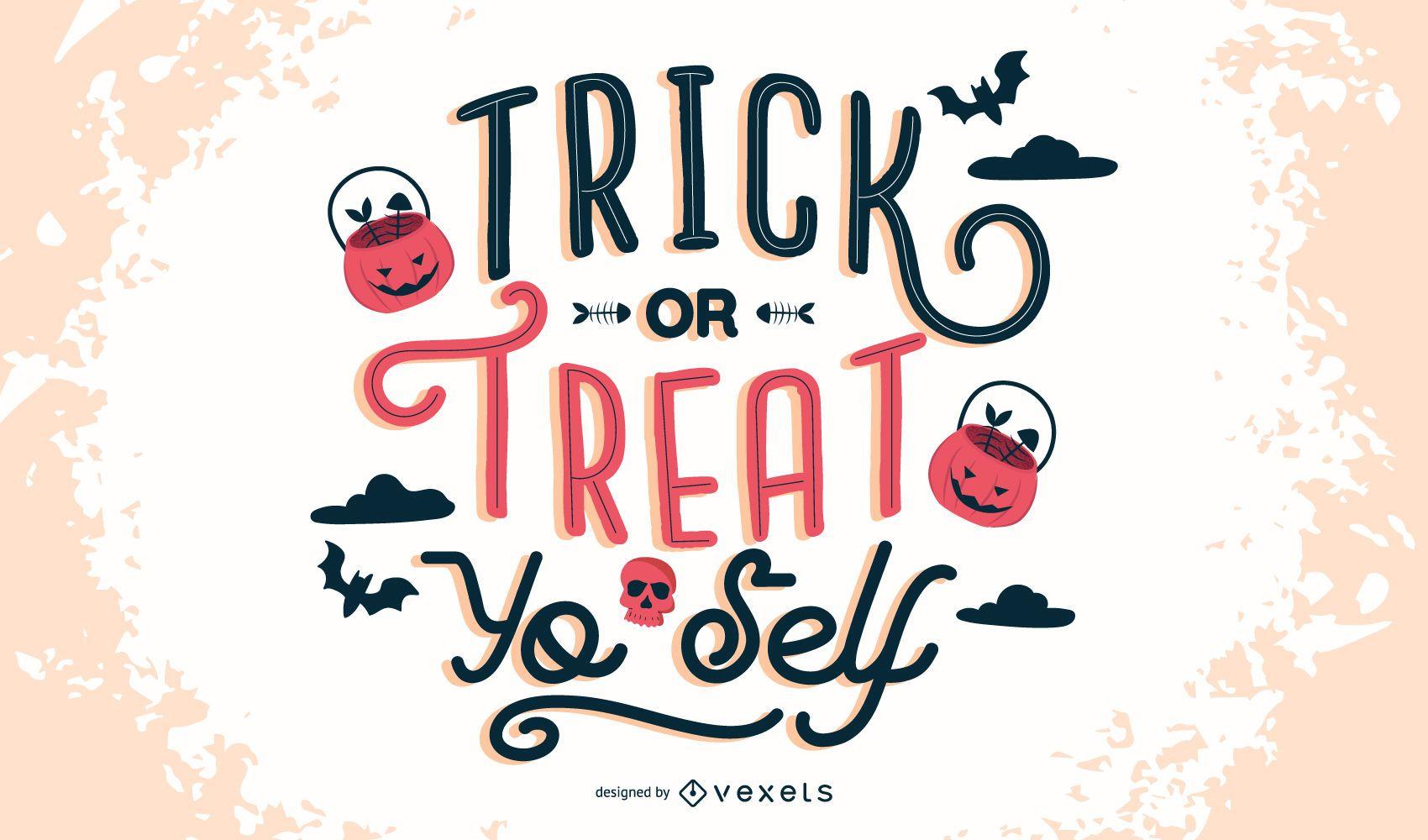 Truco o trato Yo Self Lettering Design