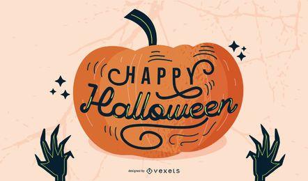 Design de rotulação feliz abóbora de Halloween
