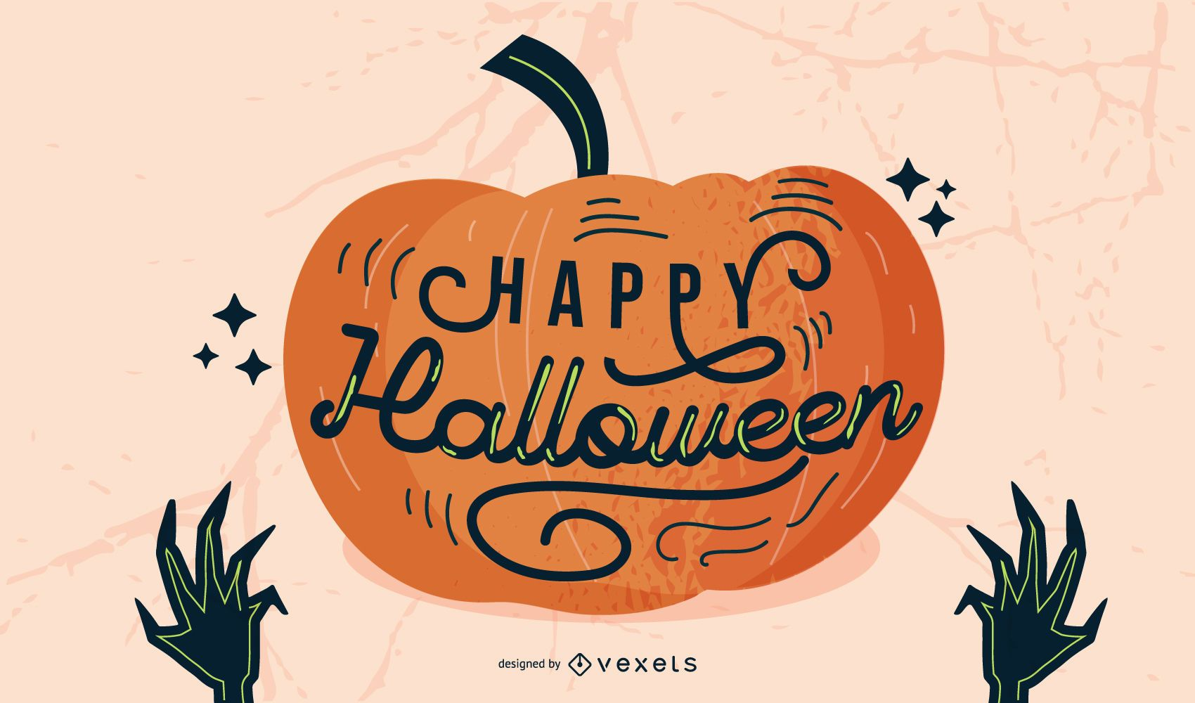 Feliz diseño de letras de calabaza de Halloween