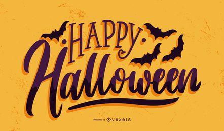 Banner feliz com morcegos de halloween