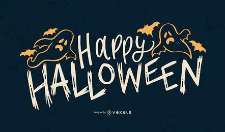 Diseño de letras de fantasma feliz Halloween