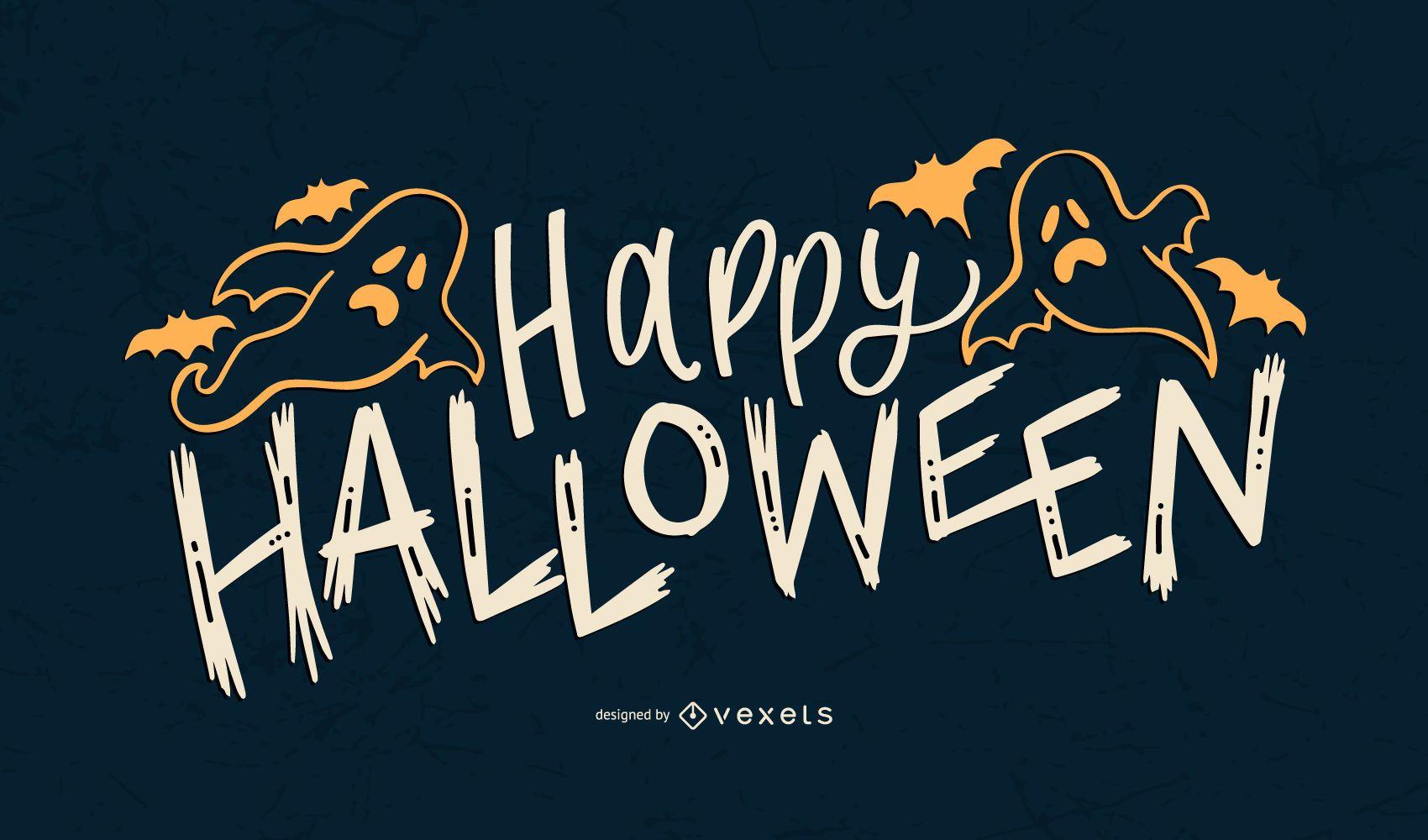 Ghost Happy Halloween Lettering Design Vector Download