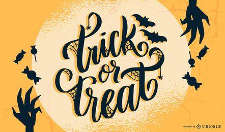 Süßes sonst gibt's Saures, das Halloween-Entwurf beschriftet