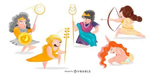 Pacote de ilustração dos desenhos animados deusa dos deuses gregos