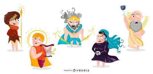 Pacote de ilustração dos desenhos animados dos deuses gregos # 2