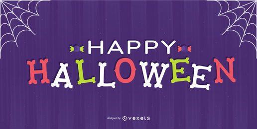 Diseño de letras de huesos de halloween feliz