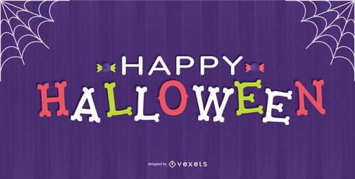 Happy halloween bones lettering design