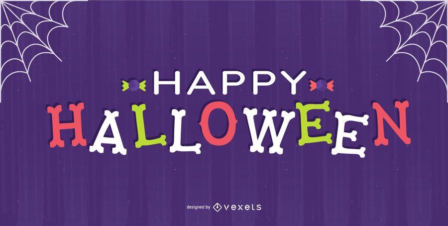 Glückliches Halloween-Knochenbeschriftungsdesign