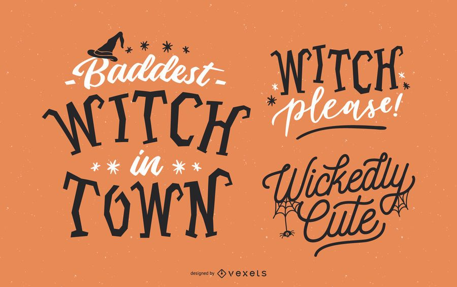 Halloween witch lettering set