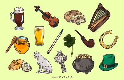 Coleção de elementos da Irlanda
