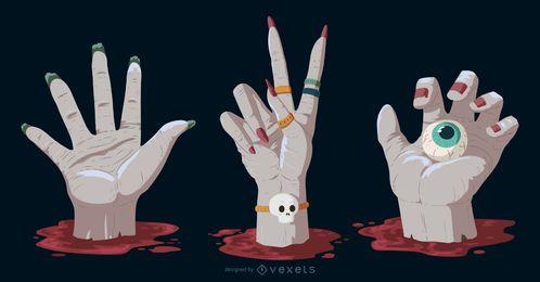 Pacote de elementos de Halloween de mãos assustadoras