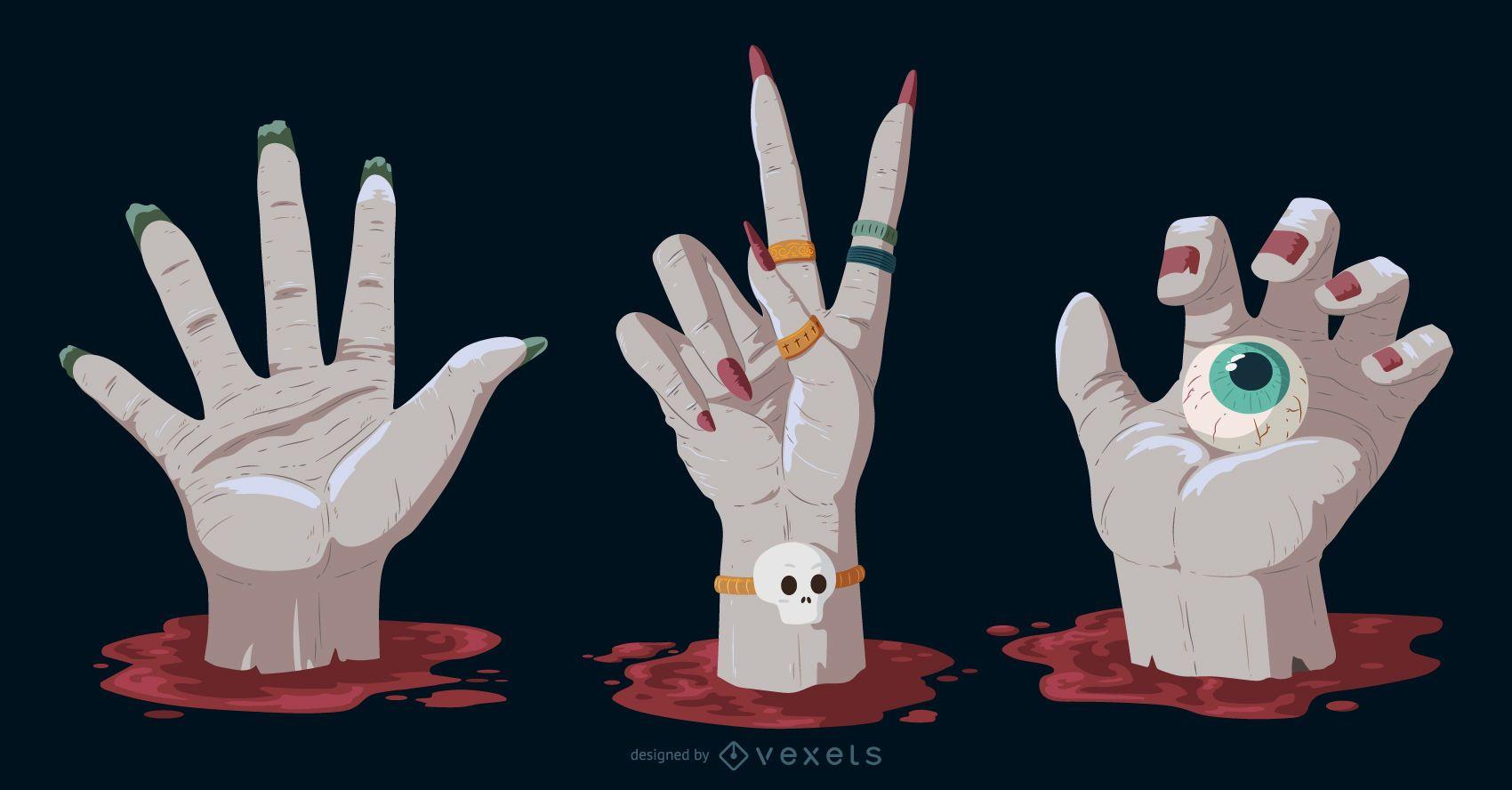 Creepy Hands Halloween Elements Pack