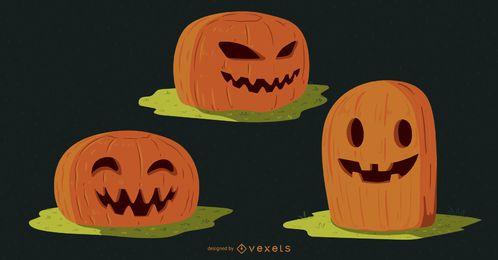 Paquete de vectores de calabazas de Halloween