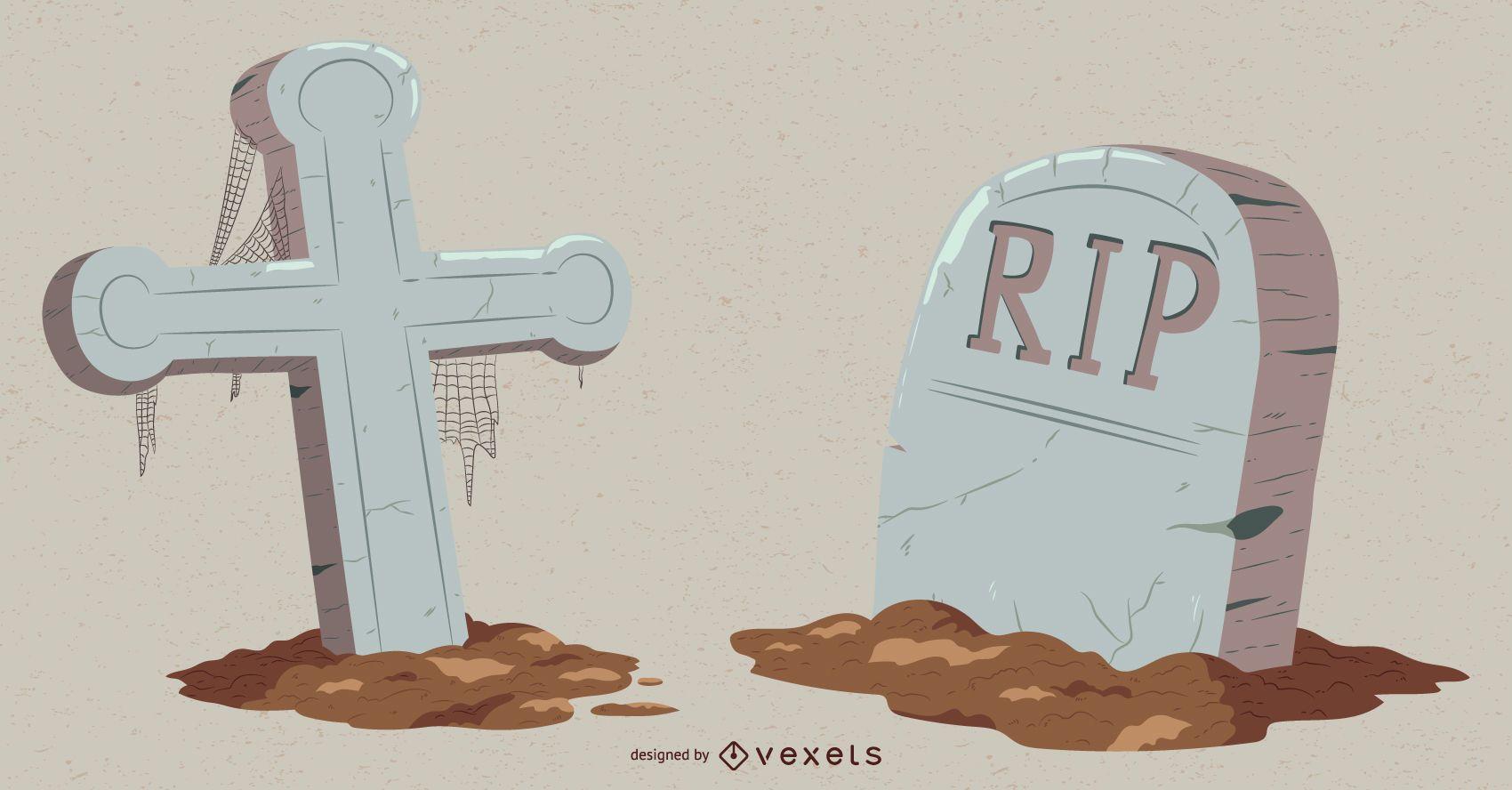 Paquete de vectores de lápida de elementos de Halloween