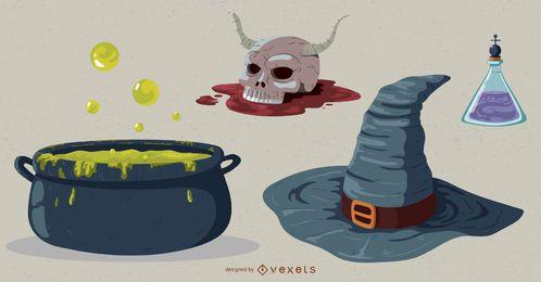 Pacote de vetores de elementos de bruxaria de Halloween