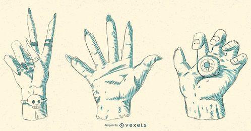 Halloween-Handillustrations-Vektor-Satz
