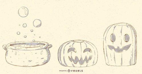 Halloween-Gegenstand-Vektor-Satz
