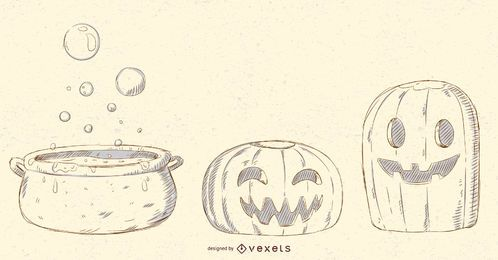 Halloween Objekte Vektor Pack