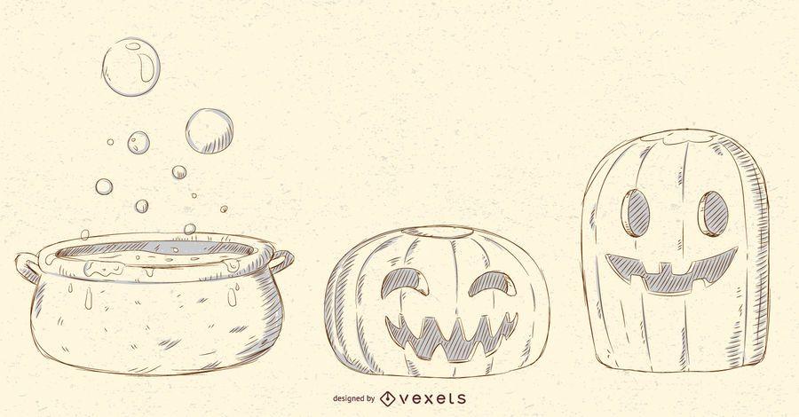 Pacote de vetores de objetos de Halloween
