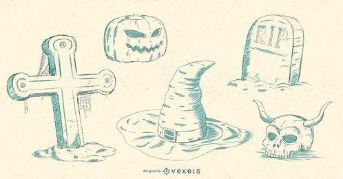 Conjunto de vectores de elementos de Halloween