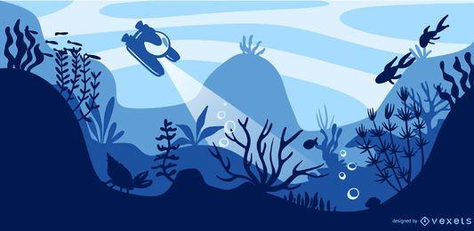 Projeto de ilustração plana subaquática