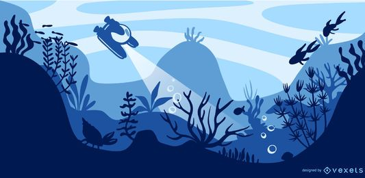 Underwater flat illustration design