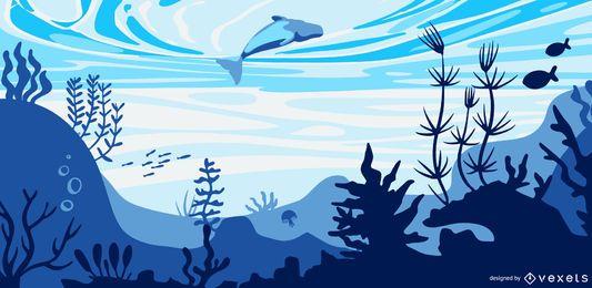 Ilustração plana de golfinho subaquático