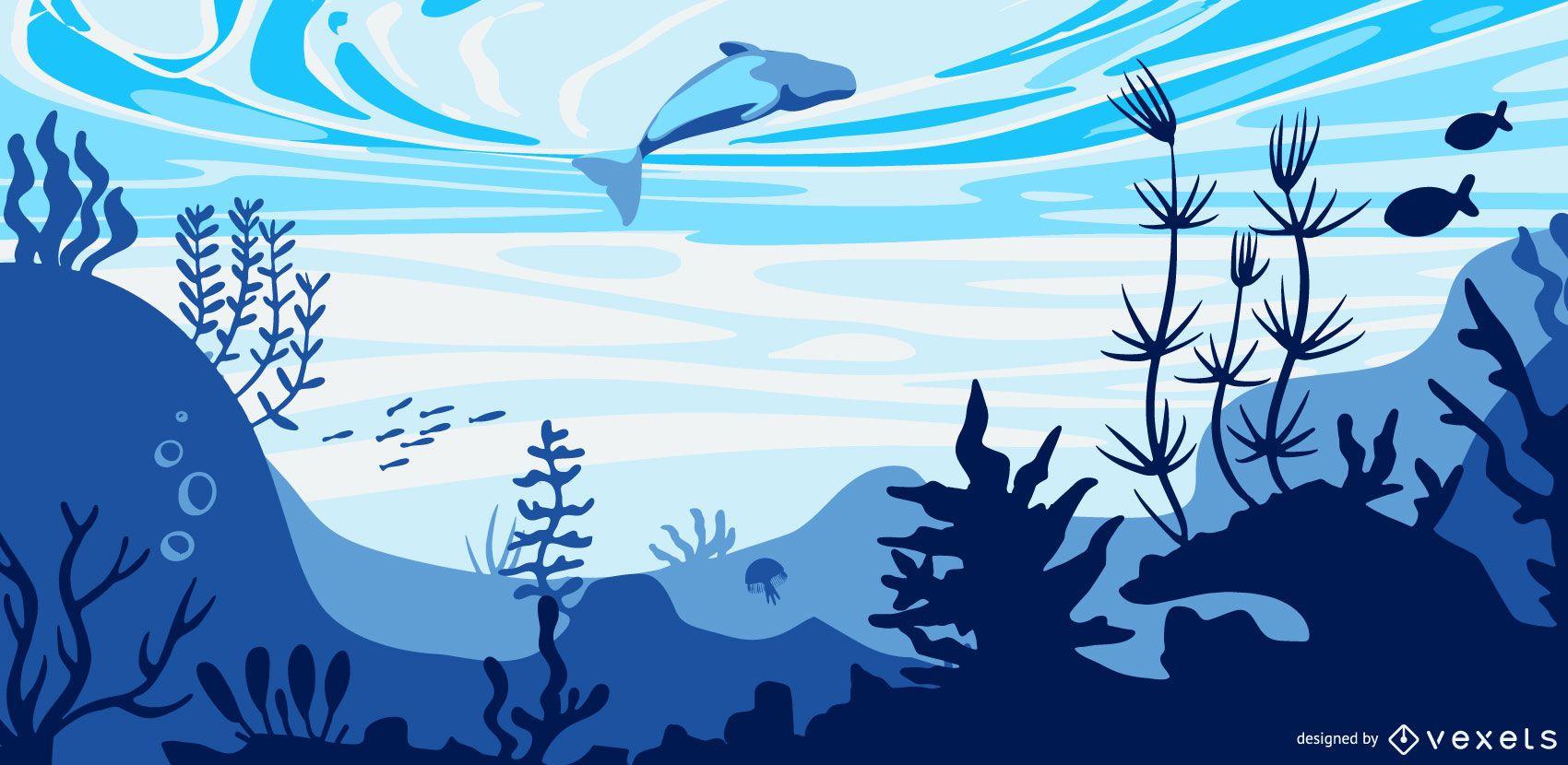 Underwater dolphin flat illustration