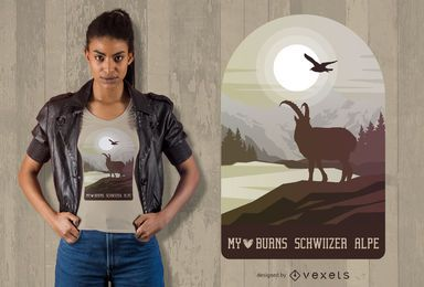 Projeto do t-shirt de Schwizer Alpe