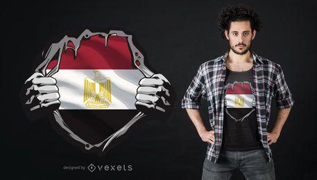 Diseño de camiseta de pecho de bandera egipcia