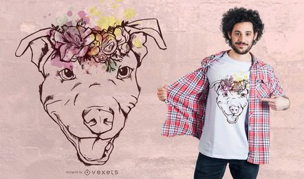 Diseño floral de camiseta Pitbull