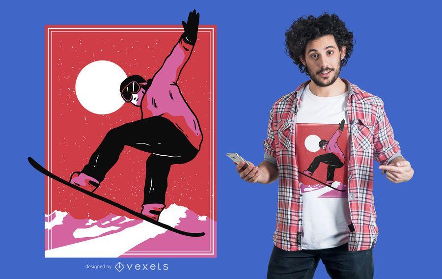 Diseño de camiseta de snowboarder