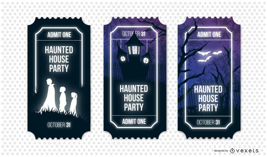 Conjunto de bilhetes de festa de casa assombrada