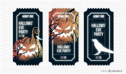Conjunto de bilhetes de festa da véspera dos Hallows