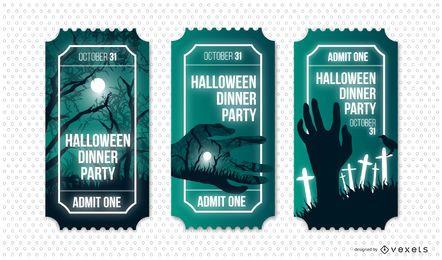 Conjunto de bilhetes de festa de jantar de Halloween
